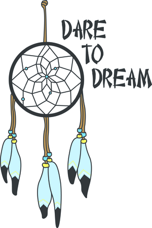 This most fascinating of native American culture, the dream catcher.  It lets the good dreams in and keeps the bad dreams away.  Stitch your own custom dream catcher! Ilustração