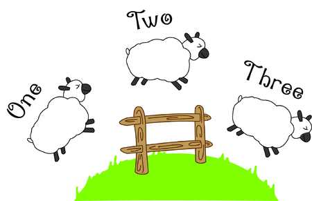 Heres the time tested go to sleep method - counting sheep but these sheep are jumping fences!  What a fun design and clever way to decorate your sleepy time linens!