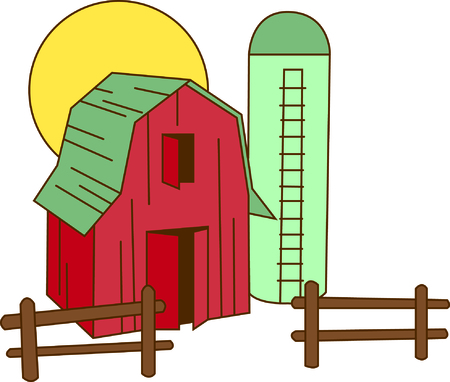 dwelling: Lets go down on the farm with this colorful barn and silo.  This is a great way to decorate useful kitchen items like hot pads and mitts.