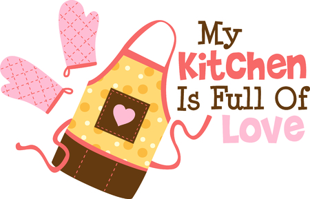 Homemade cooking is just too good to pass by.  Bring some sweet inspiration to your kitchen with this design! Ilustração
