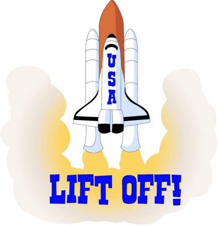 blast off: This rocket is a perfect image to add to a design for a child.