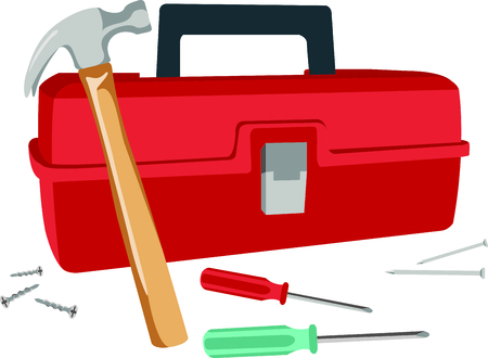 knocker: This toolbox image is the perfect image for your next design.  Perfect for the handyman working on the honeydo list. Illustration