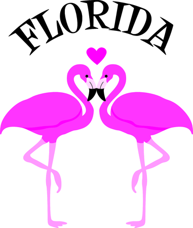 wading: This adorable flamingo says think pink.  Send this happy flamingo to a child.  They will love it! Illustration