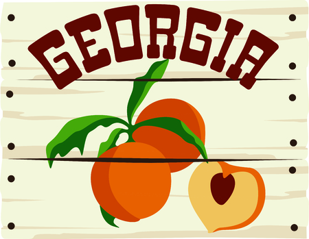 picked: A peach sign is a great way to advertise your freshly picked peaches. Illustration
