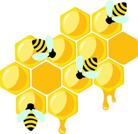 honey comb: Honey bees making that delicious honey.  This springtime image is perfect for your next design. Illustration