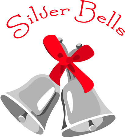 silver bells: Send holiday Christmas cheers with these silver bells. Illustration