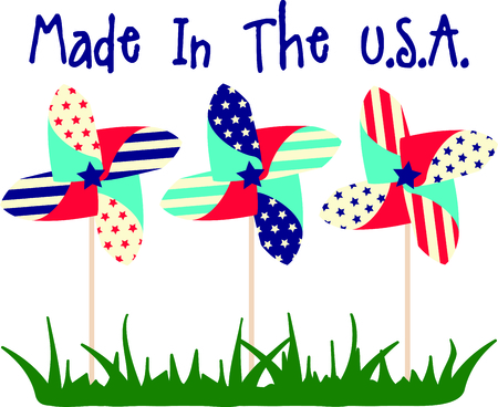 pinwheels: These pinwheels are beautiful to watch on Independence day.  Add this image to your next design. Illustration