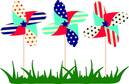 pinwheel toy: These pinwheels are beautiful to watch on Independence day.  Add this image to your next design. Illustration