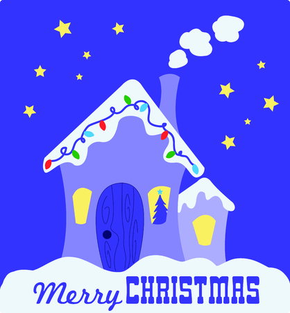 Send holiday Christmas cheers with this house with snow and lights. Ilustração