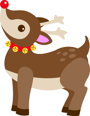 Send holiday Christmas cheers with this adorable Rudolph.