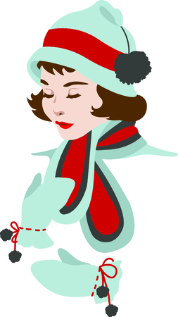 Send holiday cheers in your design with this cute Christmas girl.