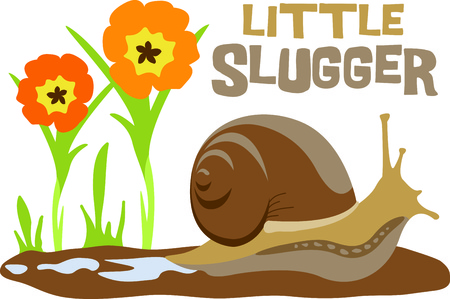 critter: This cute snail in a garden of flowers is the perfect design for a child.