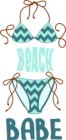 Vacationing at the bay is lots of fun.  Take this bikini design to remember it always. Vettoriali