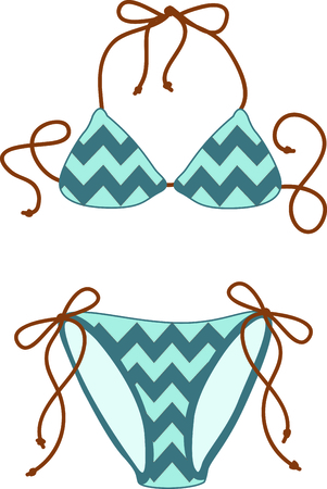 vacationing: Vacationing at the bay is lots of fun.  Take this bikini design to remember it always. Illustration