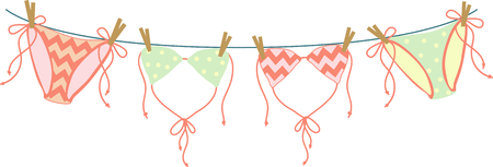 Vacationing at the bay is lots of fun.  Take this bikini design to remember it always. Ilustração