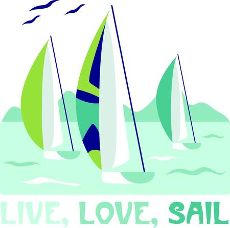 Vakantie op de baai is veel plezier. Neem deze zeilboot ontwerp om het altijd herinneren. Stock Illustratie