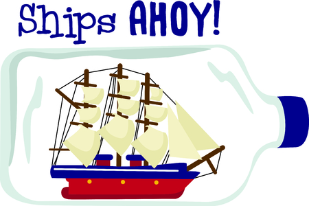 Vacationing at the bay is lots of fun.  Take this ship in a bottle design to remember it always. Illustration