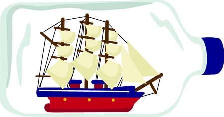 spinnaker: Vacationing at the bay is lots of fun.  Take this ship in a bottle design to remember it always. Illustration