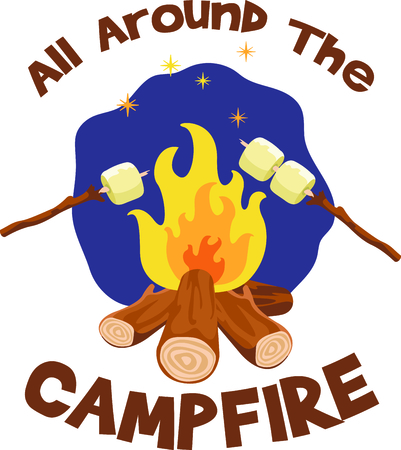 get away: Camping is a fun activity to get away from the electronics and enjoy the outdoors.  Use this campfire image with your design.