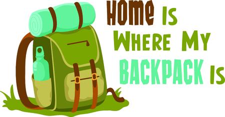 packsack: Camping is a fun activity to get away from the electronics and enjoy the outdoors.  Use this backpack image with your design.