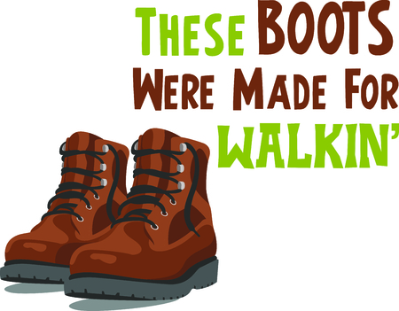 hiking: Camping is a fun activity to get away from the electronics and enjoy the outdoors.  Use this boot image with your design.