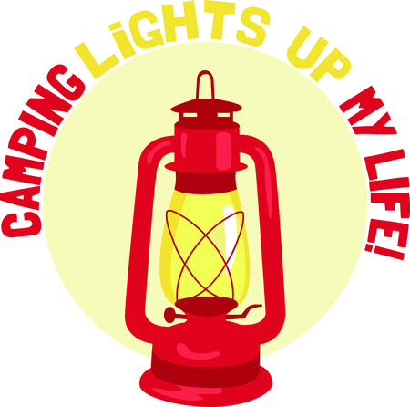 get away: Camping is a fun activity to get away from the electronics and enjoy the outdoors.  Use this lantern image with your design. Illustration