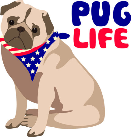 Celebrate our freedom on July 4th with this cute dog!  Perfect on items for family and friends to celebrate this day.  They will love it! Ilustrace
