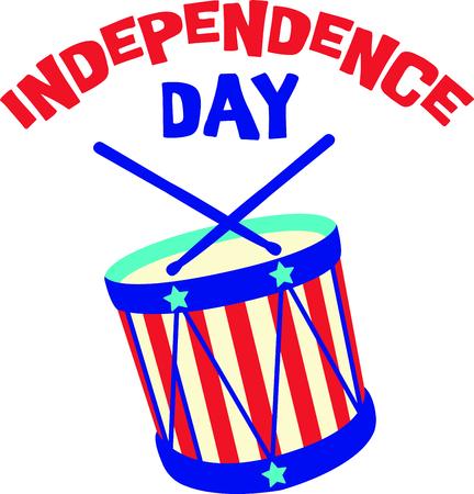 7 月 4 日にこのかわいいドラムと私たちの自由を祝う! この日を祝うために家族や友人のためのアイテムに最適です。 彼らはそれを愛する!