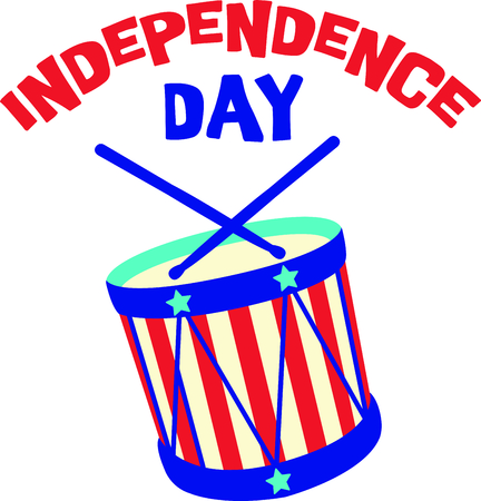 family and friends: Celebrate our freedom on July 4th with this cute drum!  Perfect on items for family and friends to celebrate this day.  They will love it! Illustration