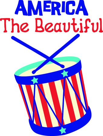 Celebrate our freedom on July 4th with this cute drum!  Perfect on items for family and friends to celebrate this day.  They will love it! Ilustrace