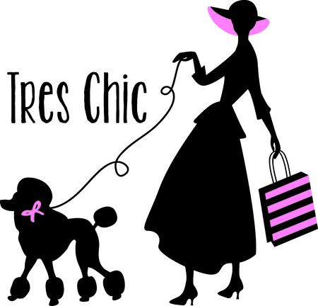 french culture: Ladies walking their poodle are a perfect French design. Get this image for your next design.