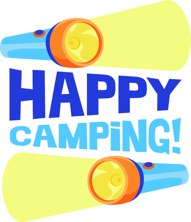 hand held: Camping is a fun activity to get away from the electronics and enjoy the outdoors.  Use this flashlight image with your design. Illustration