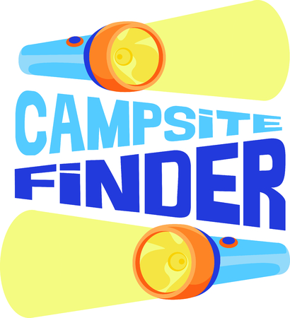 lite: Camping is a fun activity to get away from the electronics and enjoy the outdoors.  Use this flashlight image with your design. Illustration