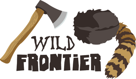 frontier: Camping is a fun activity to get away from the electronics and enjoy the outdoors.  Use this coon cap and hatchet image with your design.