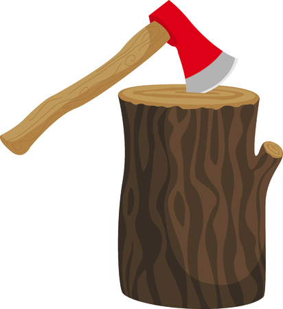 felling: Camping is a fun activity to get away from the electronics and enjoy the outdoors.  Use this axe image with your design.