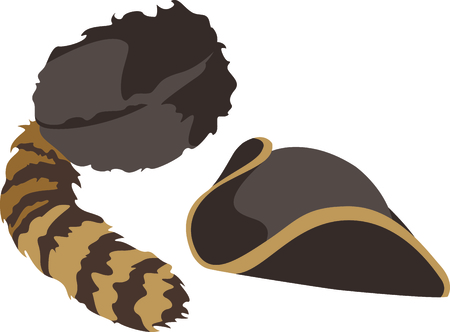 cockade: Camping is a fun activity to get away from the electronics and enjoy the outdoors.  Use this coon cap and hatchet image with your design.