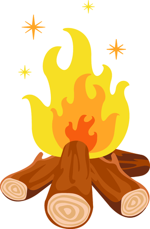 flaring: Camping is a fun activity to get away from the electronics and enjoy the outdoors.  Use this image with your design. Illustration