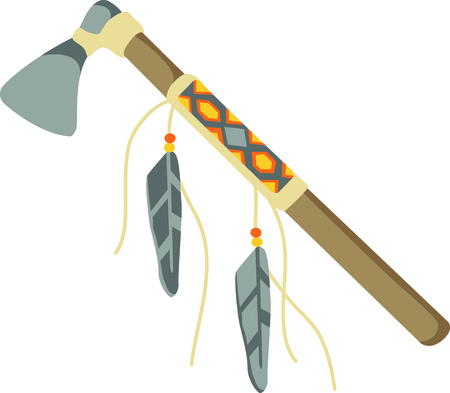 get away: Camping is a fun activity to get away from the electronics and enjoy the outdoors.  Use this tomahawk image with your design. Illustration