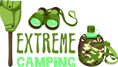 get away: Camping is a fun activity to get away from the electronics and enjoy the outdoors.  Use this canteen image with your design.
