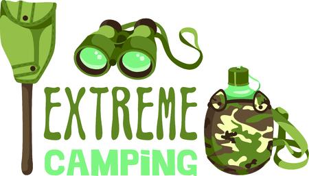 Camping is een leuke activiteit om te ontsnappen aan de elektronica te krijgen en te genieten van het buitenleven. Gebruik dit beeld kantine met uw ontwerp. Stock Illustratie