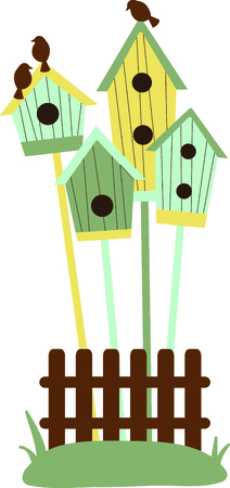 bird watcher: Birdhouses are a special design for the bird watcher. Illustration