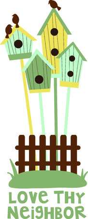 watcher: Birdhouses are a special design for the bird watcher. Illustration