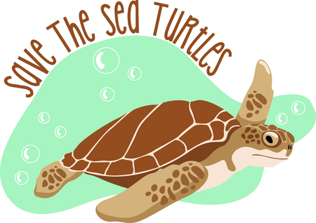 Sea Turtles are fun to watch at the beach.  Get this to remember your vacation. Иллюстрация