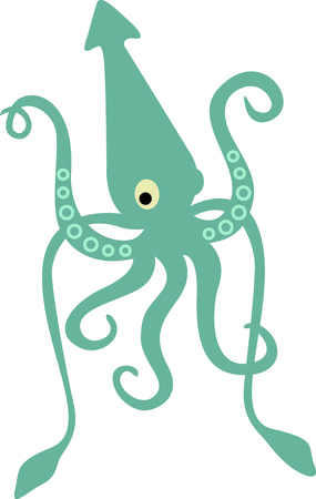 This giant squid is perfect for your nautical theme. Reklamní fotografie - 43779560