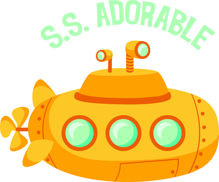 This submarine is perfect for your nautical theme. Illustration