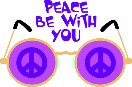 eyewear: Get these peace glasses for your next design. Illustration