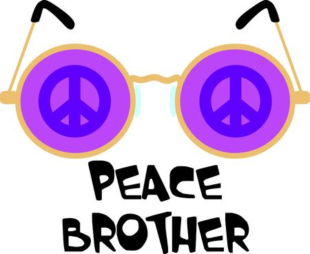 Get these peace glasses for your next design. Ilustração