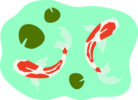lilypad: This Japanese Koi is perfect for your next design. Illustration