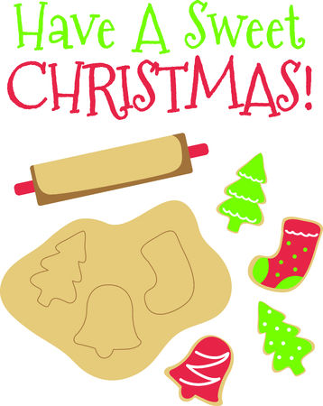 family celebration: Christmas is a wonderful family celebration with homemade cookies. Illustration