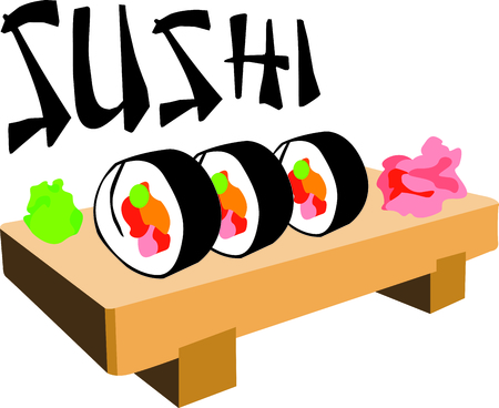 go out: Im a sushi addict.  This is how I roll.  Wear this next time you go out to eat.  Everyone will love it! Illustration
